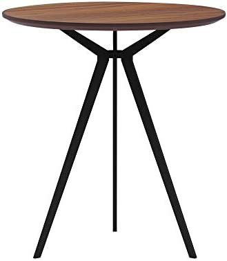 Small Round Conference Table Dining Table with 3 Legs Modern Coffee Table for Living Room Walnut Waterproof Desktop Easy Assembly 27.5 inch