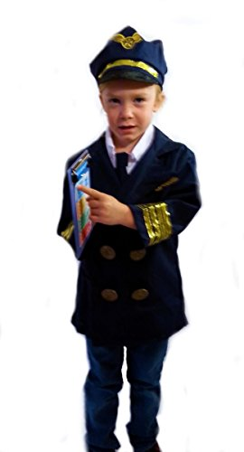 [Airline Pilot - Dress-Up Role Play Costume Set for Boys and Girls with Toy Accessories Collection] (Pilot Costumes Kids)