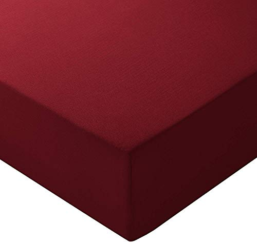 Price comparison product image Fitted Sheets Queen XL,  Burgundy Solid 400 Thread Count 1- Piece Fitted Bottom Sheet Only,  Long - Staple Pure Natural Cotton Sheet,  Soft & Sateen Weave- Fits Mattress Upto 14 Inch Deep Pocket