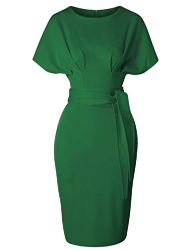 GownTown Women's 50s 60s Vintage Sexy Fitted Office Pencil Dress,Green,Medium]()