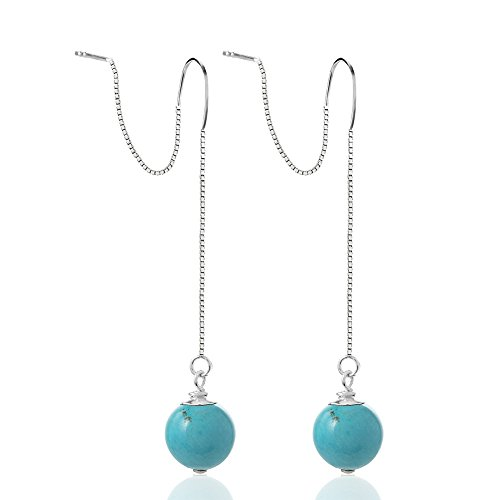 - 925 Sterling Silver Round Blue Reconstructed Turquoise Gemstone Ball Long Threader Dangle Earrings