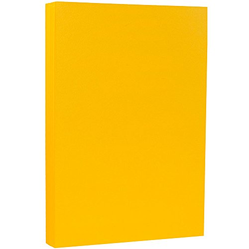 JAM PAPER Legal Matte 80lb Cardstock - 8.5 x 14 Coverstock - Sunflower Yellow - 50 Sheets/Pack