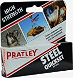 Pratley Quickset Steel - Epoxy Metal Glue - Machinable Hole Filler and Pipe Repair Kit For Most Metal, Stone, Concrete, Slate, Glass - Use For Cast Metal, Costume Jewelry - Can Be Filed and Sanded