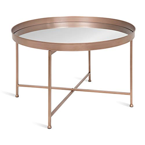 Kate and Laurel 214676 Celia Round Mirrored Coffee Table, 28.25x28.25x19, Rose Gold (Top Copper Table Round)