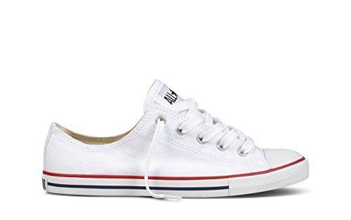 Converse Women's Dainty Canvas Low Top Sneaker, White, 7 M US ()