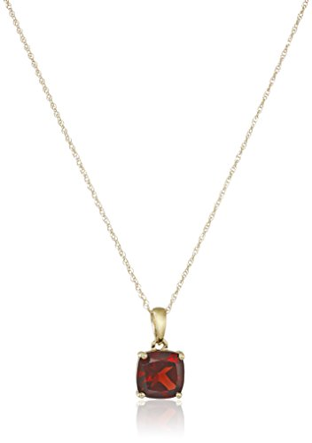 14k Yellow Gold Cushion Cut Garnet Pendant Necklace, 18