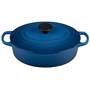 Le Creuset of America Signature Enameled Cast Iron Oval Wide Dutch Oven, 3.5-Quart, Marseille