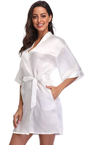 Season Dressing Women Satin Plain Short Kimono Bridesmaid Bathrobe Wedding Party Robe, White Small