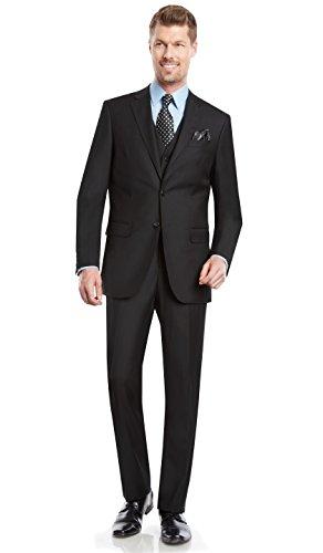 Mens Suit 2 button 3 piece Modern Fit Blazer/Jacket Flat-Front Pants by Taheri,Black,US 44L / EU 54L / Waist 38