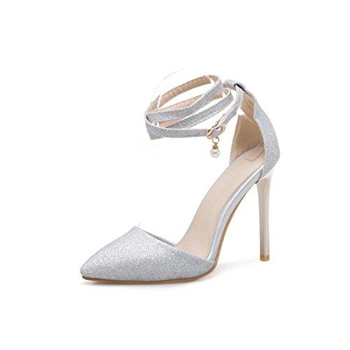 Sandalias Mujer/Sandalia con Pulsera para Mujer/La Sra. Summer High Heels con Hebilla de Tobillo Delgado Señaló Sandalias de Banquetes Silver