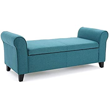 Amazon Com Armed Fabric Indoor Storage Bench Rolled Arms
