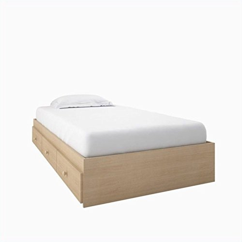 Alegria 5600 Twin Size Storage Bed from Nexera, Natural Maple