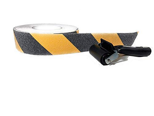 Tacky Stick Anti-Slip Yellow and Black Safety Tape + Free Rubber Brayer - High Traction Caution Tape for Stairs or Walkways - 65 feet x 2 inches