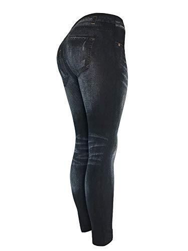 CLOYA Women's Denim Print Fake Jeans Seamless Full Length Leggings