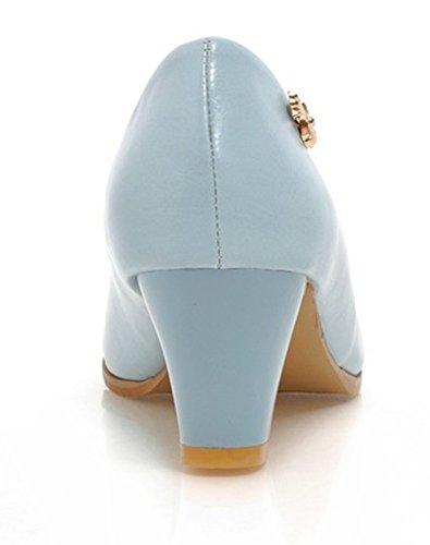 Aisun Damen Klassisch Runde Zehen Kunstleder Blockabsatz High Heels Low Top Pumps Blau