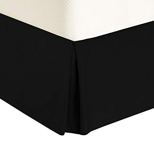 Royal Tradition Solid 300 Thread Count Pure Cotton Queen Bed Skirt (Black) Pleated Tailored Bedskirts with 15