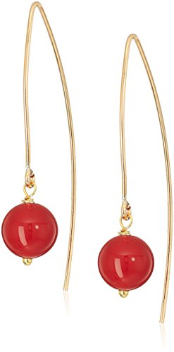 Agate Gold Red (Gold Filled Marquis with Red Agate Beads Dangle Earrings)