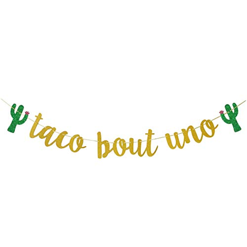 Glamoncha Taco Bout Uno Gold Glitter Banner Sign Garland for Mexican Fiesta Themed First Birthday Party Decorations]()