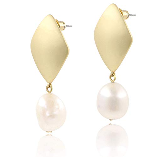 ASH'S CHOICE Large Baroque Freshwater Cultured Pearl Drop Dangle Earrings Fashion Jewelry for Women Girls 14k Gold Plated (Diamond)