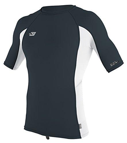 Lycra Rash Guard - O'Neill Men's Premium Skins Upf 50+ Short Sleeve Rash Guard, Slate/White, X-Large