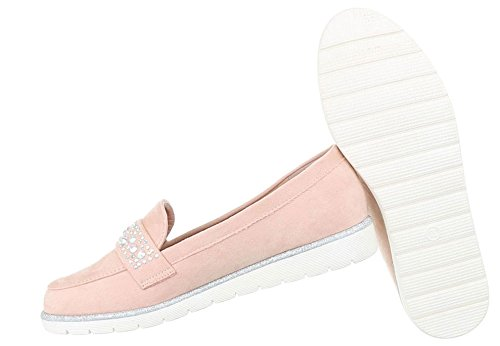 Damen Halbschuhe Schuhe Slipper Loafer Mokassins Flats Slip On Schwarz Beige Grau Pink 36 37 38 39 40 41 Rosa