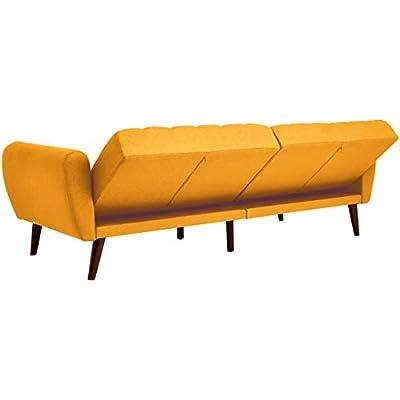 Sunrise Coast Torino Modern Linen-Upholstery Futon with Wooden Legs