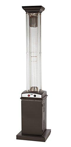Square Flame Patio Heater - Golden Flame Square Flame Commercial 46,000 BTU (Rich Mocha) Quartz Glass Tube Propane Patio Heater w/Wheels