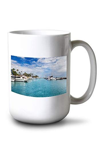 Lahaina, West Maui, Hawaii - Boats in Harbor - Photography A-96070 96070 (15oz White Ceramic Mug) ()