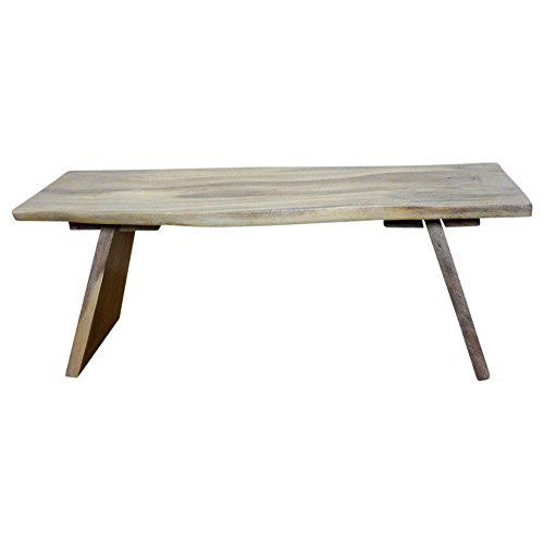 HAUSSMANN Angled Bench 48x17-20x18 inch H Monkey Pod Wood KD in Eco Livos Agate Grey Oil F