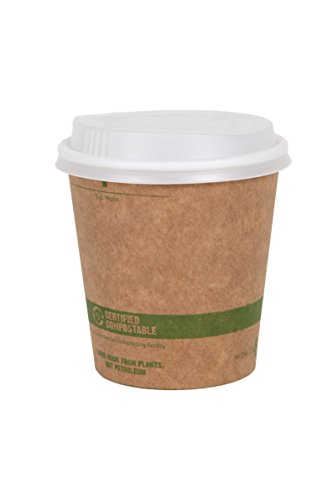 - World Centric 100% Biodegradable, 100% Compostable Paper PLA-Lined 12 Ounce Kraft Coffee Hot Cup and Lid Combo, 100 Pack