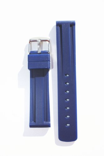 Panerai Style 22mm Navy Blue Heavy Rubber with Heavy S/S Buckle By Toscana