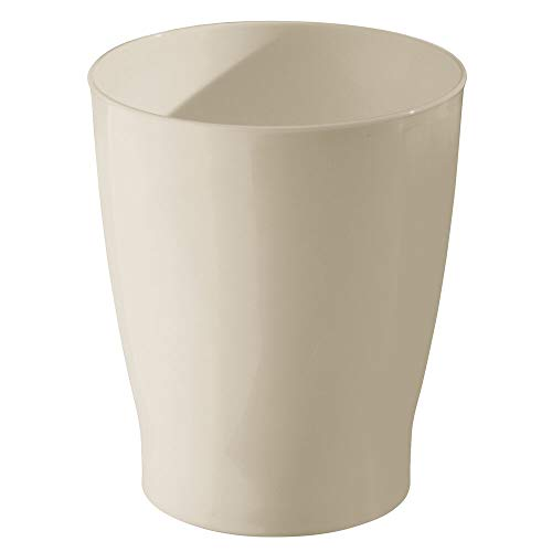 mDesign Slim Round Plastic Small Trash Can Wastebasket, Garbage Container Bin for Bathrooms, Powder Rooms, Kitchens, Home Offices, Kids Rooms - Taupe/Tan