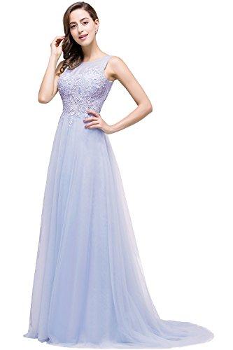 Abendkleid 32 Spitze Brautjungfernkleid Tüll Rückenfrei Flieder 46 MisShow Damen Ballkleid Elegant Hochzeit lang wIqI6v