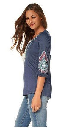 Manches Shirt Tunique Bleu Longues Femmes À Ajc AZqaCa