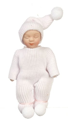(Dollhouse Miniature Hand Painted Baby Doll in a Pink Outfit )