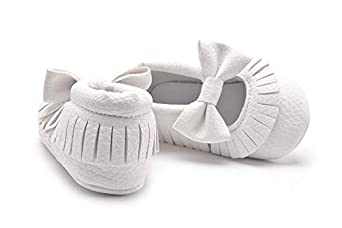 HEHGU Baby Girls PU Moccasins Bow Tassels Toddler Shoes Infant First Walkers