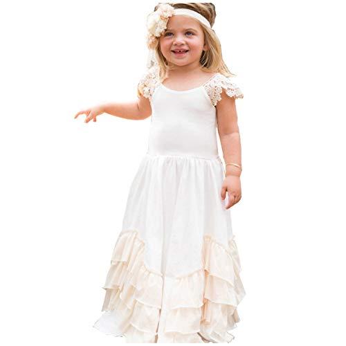White Maxi Dress For Girls - Flower Girls Chiffon Ruffles Cotton Maxi