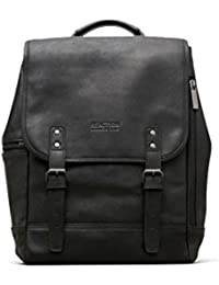 """Colombian Leather Single Gusset Flapover Computer Backpack, 14.1"""", Black"""