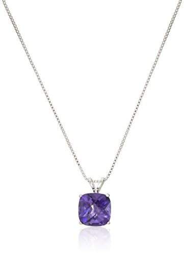 Sterling Silver Cushion-Cut Checkerboard Amethyst Pendant Necklace (8mm)