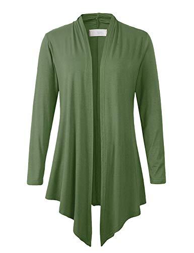 Eanklosco Women Open Front Cardigan Plus Size Drape Long Sleeve Coat (Army Green, L) -