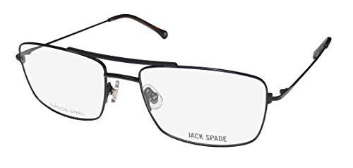 Jack Spade Carlson Mens/Womens Aviator Full-rim Brand Name Collectible Eyeglasses/Eyeglass Frame (54-17-140, Black) (Aviator Brille Rx)