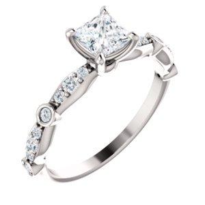 Jambs Jewelry 10K White 4.5x4.5 mm Square 1/5 CTW Diamond Semi-Set Engagement Ring Mounting