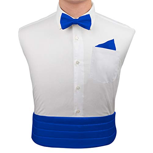 Blue Silk Pre-tied Bow Tie for Shirt for Marriage Hanky and Cummerbund Cufflinks Set with Box Cm1010  Blue