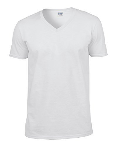 Gildan 64V00 - Euro Fit Adult V-Neck T-Shirt Soft Style - First Quality - White - X-Large