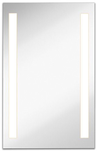 Hanging Bathroom Vanity (Lighted LED Frameless Backlit Wall Mirror | Polished Edge Silver Backed Illuminated 2 Frosted Line Vertical Mirrored Plate | Commercial Grade | Vanity or Bathroom Hanging Rectangle (23.5