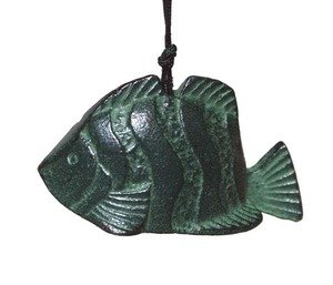 JapanBargain Japanese Iwachu Cast Iron Fish Wind Chimes, Green - Cast Iron Fish