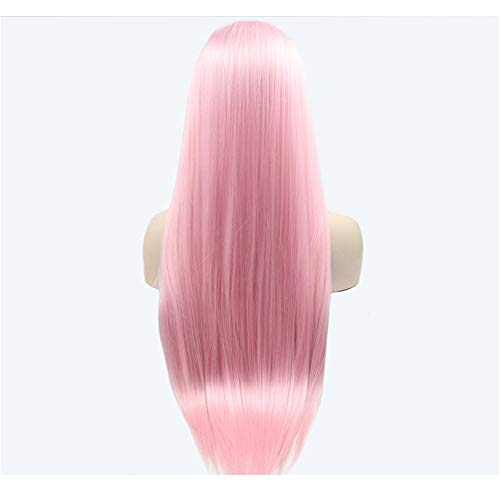 European and American Hot Wig Women Front Lace Chemical Fiber Wig Pink Long Hair Straight Hair Chemical Fiber Wig