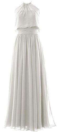 MACloth Women Halter Chiffon Long Bridesmaid Dress Formal Party Evening Gown Marfil