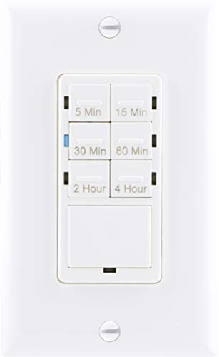 GE Push Button Digital Countdown Timer Switch, NO Neutral Wire Required, 5-15-30 Minute and 1-2-4 Hour Presets, On/Off, for Lights, Exhaust Fans, and Heaters, Décor Wall Plate Included, 15318