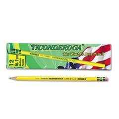 Dixon - Ticonderoga Cedar Yellow Wood Pencils,#2-1/2/F Medium Lead, 12x,DIX13885 (2-Pack)